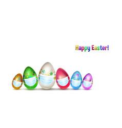Background easter eggs with medical masks vector