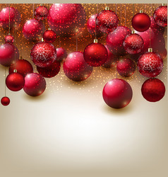 beautiful christmas background with red balls r vector image