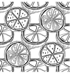 black and white lemons for coloring books vector image