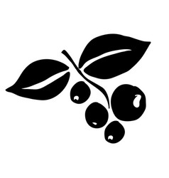 Black silhouette hand drawn with coffee tree vector