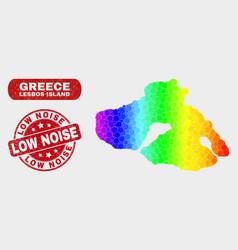 Bright mosaic lesbos island map and distress low vector