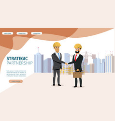 Business partnership cartoon landing page vector