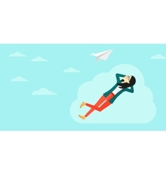 Business woman relaxing on cloud vector