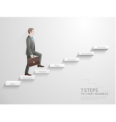 businessman climbing up stairs to top vector image