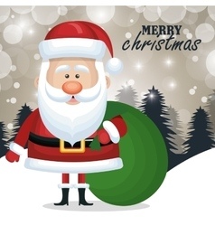Card christmas santa claus bag gift snow graphic vector