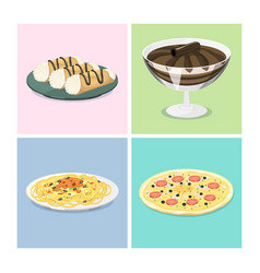 cartoon italy food cuisine delicious homemade vector image