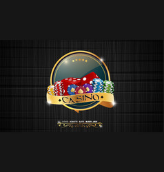 casino colorful chips with red dic vector image