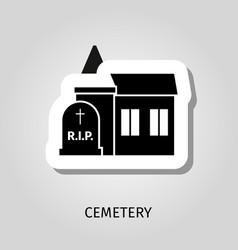 Cemetery black building sticker vector