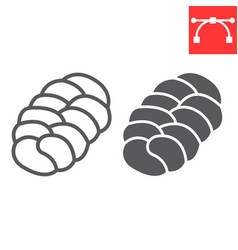 challah line and glyph icon bread and loaf vector image