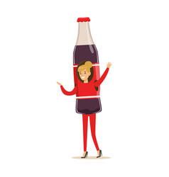 Cheerful woman wearing soda drink bottle costume vector