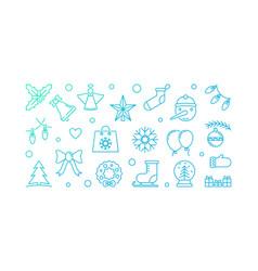 christmas blue horizontal vector image