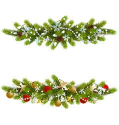 Christmas fir decoration with beads vector