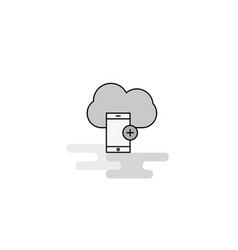 cloud with smart phone web icon flat line filled vector image