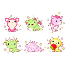 collection kawaii little dragons in various vector image