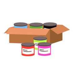 Colored paint jars in a cardboard box icon vector