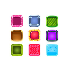 Colorful gems flash game element templates design vector
