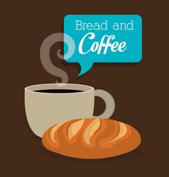 delicious bread and coffee label vector image