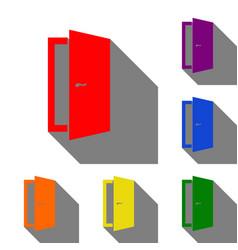 door sign set of red orange yellow vector image