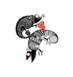drawing in love ornamental chameleon vector image