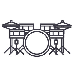 Drums set line icon sign on vector
