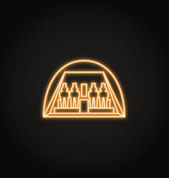 egyptian temple abu simbel icon in glowing neon vector image