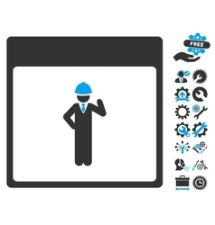 Engineer Calendar Page Icon With Bonus vector