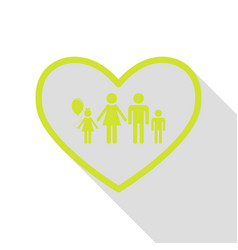 family sign in heart shape pear icon vector image