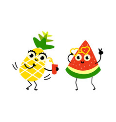 flat fruit summer party characters set vector image