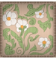 Floral Background with Vintage frame vector image