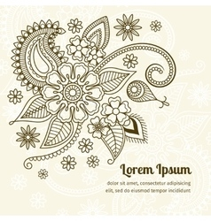 Floral elements in mehndi indian style vector image