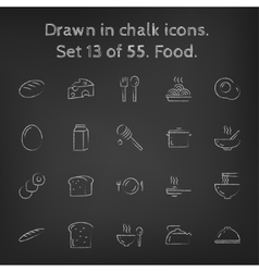 Food icon set drawn in chalk vector
