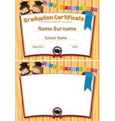 Graduation certification template with happy vector