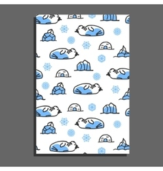 Greeting card template with cute cartoon walrus vector