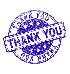 grunge textured thank you stamp seal vector image