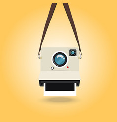 Hanging instant camera photo vector
