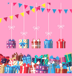 happy birthday banner with colorful gift box vector image