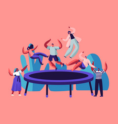happy teens jumping on trampoline friends vector image