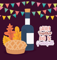 Happy thanksgiving day cake and wine bottle vector