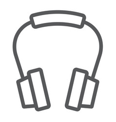 Headphones line icon earphone and music vector