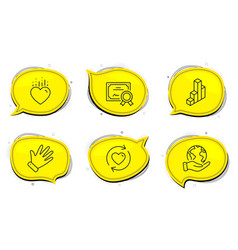 Heart 3d chart and update relationships icons set vector