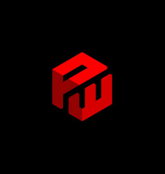 initial letter pw logo template with 3d cube icon vector image