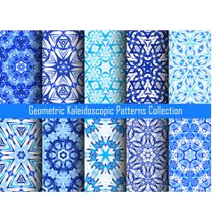 kaleidoscope patterns blue backgrounds vector image