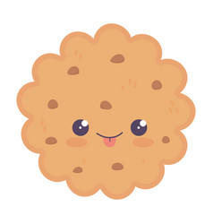Kawaii biscuit dessert cute cartoon isolated icon vector