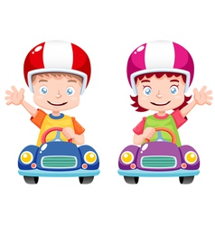 Kids on car vector image