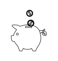 Line save coins money inside pig vector