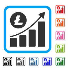 litecoin growing trend framed icon vector image
