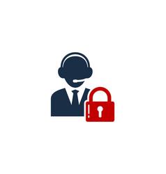 lock call center logo icon design vector image