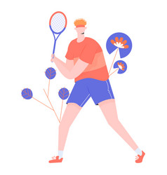 Male tennis player character with a racket vector