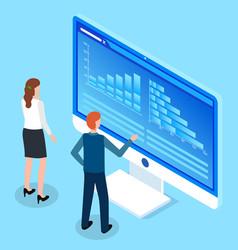 man and woman study charts bar charts analytical vector image