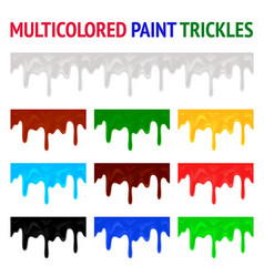 Multicolored paint trickles vector
